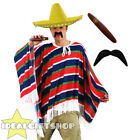YELLOW MEXICAN POMPOM SOMBRERO PONCHO TASH AND CIGAR UNISEX FANCY DRESS COSTUME
