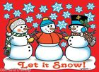 Let It Snow Shirt, Snowman & Snowflakes T-Shirt, Christmas Scene, Sm - 5X