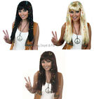 Long Hippy Chick Groovy Braided Wig + Beads 60s 70s Hippie Ladies Fancy Dress