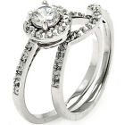 Sterling Silver Solitaire  Clear CZ 2in1 Wedding Set Curved Band Ring Size 3-11