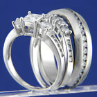 New Womens Sterling Silver Engagement Wedding Ring Mens Stainless Steel Band Set