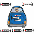"I Heart Love Dogs Dog Breed 2"" x 7"" Bone Shaped Car Magnets  Phrases Sayings"