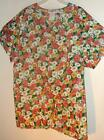 New 2 pocket VNECK scrubs top  65%poly 35%cot - 1X FLOWER PRINT #16  MADE IN USA