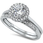 925 Sterling Solitaire Round Clear CZ Promise Wedding 2in1 Set Ring Size 3-11