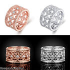 Hollow Flower Heart Ring Womens Fashion Rose Gold & Silver Wide Ring Gift US 8