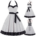 New Women's Halter 1950's Polka Dots Vintage Dress Housewife Cocktail Party Prom