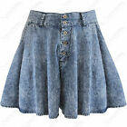 LADIES HIGH WAIST DENIM CULOTTES WOMENS SKORT SKATER SHORTS SKIRT HOTPANTS 6 -16