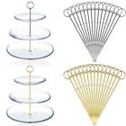 15x 3 Tier Round Top Cake Plate Stand Handle Fittings Fruit Food Server Display