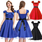 NEW Womens Cap Sleeve Vintage Style 1950s Casual Party Swing Pinup Skaters Dress