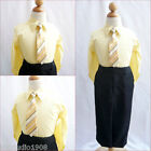 Lovely Light yellow Boy long sleeve formal dress shirt w/ matching tie all sizes