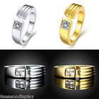 Square Cubic Zirconia Ring Womens Luxury Gold & Silver Wedding Ring Gift US 8
