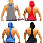 Mens Sleeveless Hoodie Stringer Vest Bodybuilding Workout Gym Singlet Muscle Top
