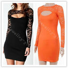 Women Sexy Black Elegant Floral Lace Cut out Bodycon Party Cocktail Mini Dress