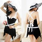 50s Elegant Inspired Stripe Retro Vintage Swimdress Skirt One Piece Swimsuit
