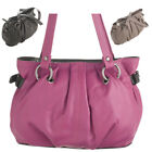 Ladies Womens Soft Dual Handle Genuine Real Leather Handbag Bag Zip Top Pink