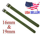 16mm & 19mm WWII Style One Piece Military Nylon Watch Band Strap NOS