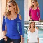 New Sexy Women Long Sleeve T Shirt Blouse Ladies Summer Off Shoulder Casual B20E