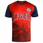 KLEW MLB Men's Los Angeles Angels Mike Trout #27 Watermark Player T-Shirt, Red