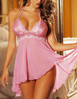 Plus Size Pink Lingerie Babydoll Chemise Dress Nighty + G-string S M L XL 2XL
