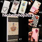 Bling Crystal Diamonds Pearls PU Leather Solt Stand Wallet Pouch Case Cover Skin