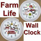 FARM Life Wall CLOCK Country America Barn Tractor Chicken Sheep Cow Corn Pig NEW