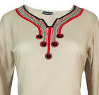 Ladies Indian Long Sleeve Kurta-Kurti Tops Beige KL6755 Various Sizes