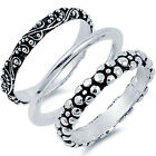 925 Sterling Silver 3 in 1 Set Glamour Flower Floral Style Band Ring Size 4-12