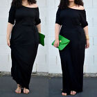 Womens 1/2 Sleeve PLUS Long Party Prom Dress Maxi Ladies Evening Clubwear 2XL+