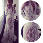 Sexy Women Deep-V Long Sleeve Lace Dress See-through Slim Tailing Jumpsuit Dress