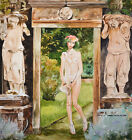 "16"" ORIGINAL WATERCOLOR REALISTIC NUDITY PAINTING:  NUDE & SECRET GARDEN"