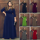 V Neck Womens Summer Long Maxi Dress Evening Party Cocktail Sun Dress Plus Size