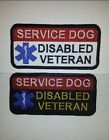 Service Dog Disabled Veteran -Deluxe Embroidered Sew-On/Velcro Service Dog Patch