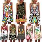 Summer Women Vintage Boho Mini Dress Sleeveless Bodycon Casual Cocktail Sundress