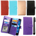 For ZTE ZMAX 2 Z958 Z955L Leather Magnetic Card Holder Wallet Cover Case + Pen