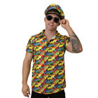 YELLOW HAWAIIAN SHIRT AND HAT LUAU BEACH PARTY STAG DO HOLIDAY FLORAL PRINT