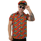 RED HAWAIIAN SHIRT AND HAT UNISEX LUAU BEACH PARTY STAG DO HOLIDAY FLORAL PRINT