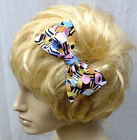 "VINTAGE 50s STYLE LIQUORICE ALLSORTS SWEETS COTTON 5"" HANDMADE HAIR BOW CLIP 519"