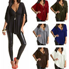 Plus Size Womens Sexy V Neck Batwing Sleeve Casual Tops Blouse T-Shirt Wrap Top