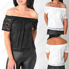 WOMENS OFF SHOULDER TOP SHORT FRILL SLEEVE CROCHET FLORAL LACE LADIES BARDOT