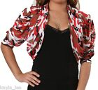 Red/Beige Mesh Camo Short Sleeve Ruched Cropped Bolero/Shrug Cover-Up Plus 1X