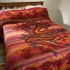 Fair Trade Dragon cotton khadi double bed spread cover throw wallhanging ethical