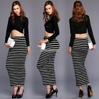 NEW Ladies Sexy Long Sleeve Crop Tops And Bodycon Pencil Skirt Clubwear Set N98B