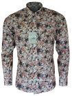 RELCO PLATINUM COLLECTION Satin Cotton Floral Shirt MULTI 60s Mod Skin RSF816