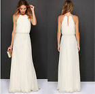 0835 Women Ivory Chiffon Ball Gown Cocktail Party Long Maxi Dresses S/M/L/XL