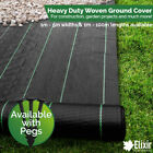 Elixir Gardens Heavy Duty Woven Ground Cover 1m, 2m, 3m, 4m, 5m Widths with Pegs