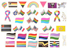Rainbow LGBT Gay Pride Real GOLD Plated Pin Badge ** 22 Different Designs **