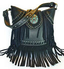 Trinity Ranch® Leather Fringe, Studded Bucket Shoulder Bag w/TQ Accent- Black