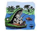Custom Made T Shirt Weird Old Eldery Guy Man Fishing Alligator Mouth Sport Funny