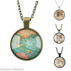 New Retro Map Time Gemstone Pendant Necklace Fashion Women Men Jewelry