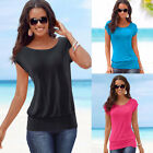 Hot Summer New Womens Short Sleeve T-Shirt Ladies Casual Loose Plain Tops Blouse